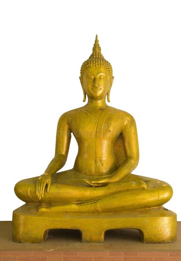 Gloeiende gouden Boedha in watkhaoruak Phichit, Thailand op een witte achtergrond stock foto