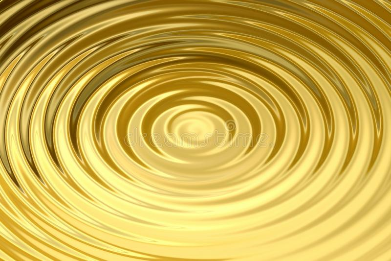 Gloeiende gouden waterring met vloeibare rimpeling, abstracte textuur als achtergrond vector illustratie