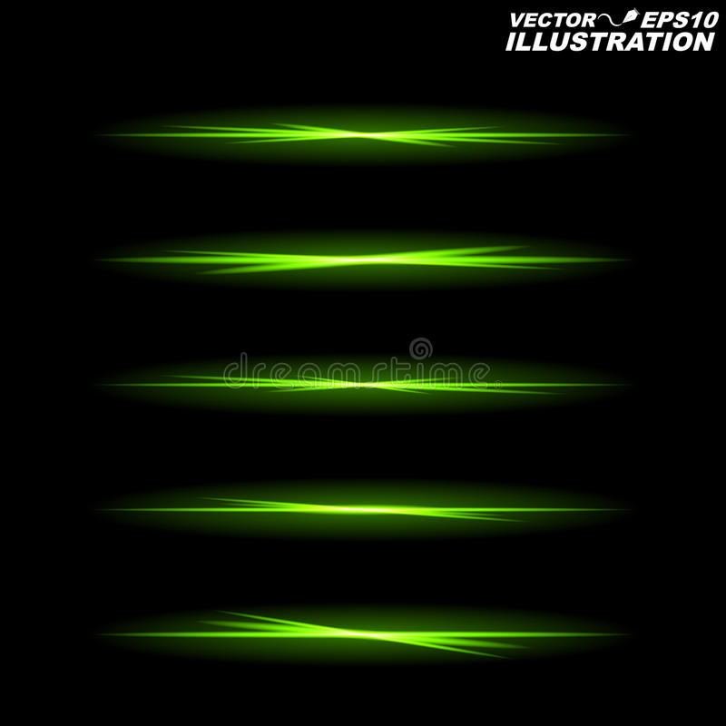 Gloeiende groene lijnen op een zwarte achtergrond in totale duisternis royalty-vrije illustratie