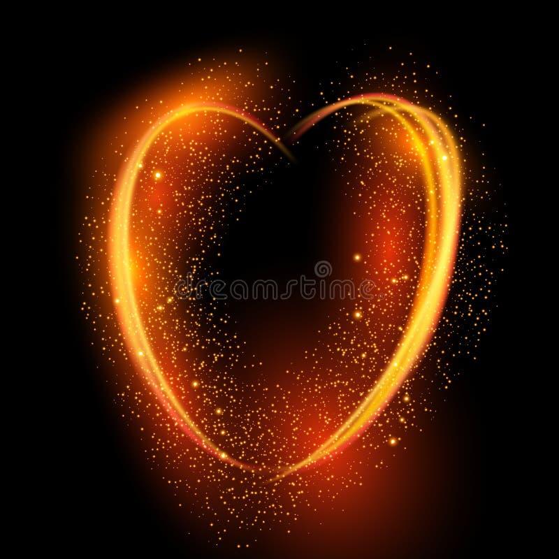 Gloeiende hartachtergrond voor de Dag van Valentine ` s vector illustratie