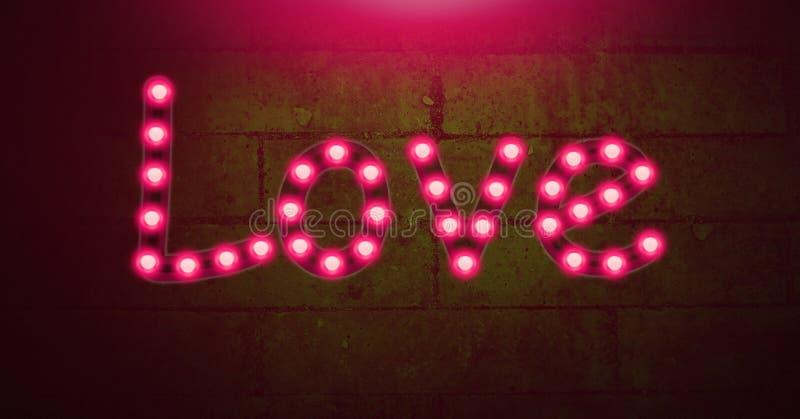 Gloeiende het neonlichtbollen van de liefdetekst op groene muur stock illustratie