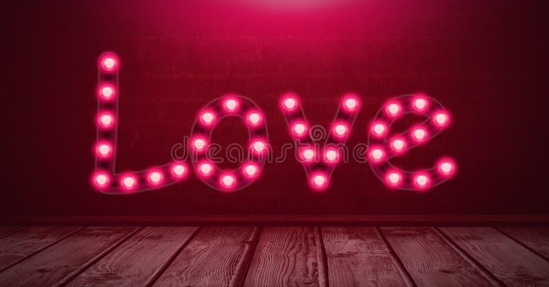Gloeiende het neonlichtbollen van de liefdetekst over houten vloer stock illustratie