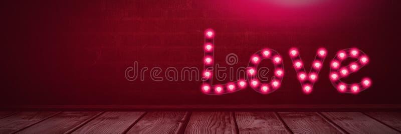 Gloeiende het neonlichtbollen van de liefdetekst over houten vloer vector illustratie