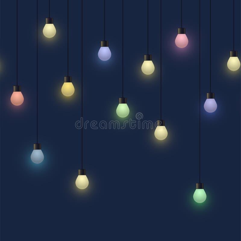 Gloeiende kleurrijke bolslinger, decoratieve lichte slinger op donkere lampen als achtergrond, footer en banner, vectorillustrati vector illustratie