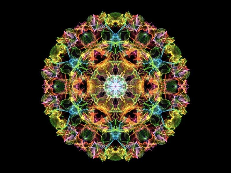 Gloeiende kleurrijke mandalabloem van de neon abstracte vlam, sier bloemen rond patroon op zwarte achtergrond Yogathema stock illustratie
