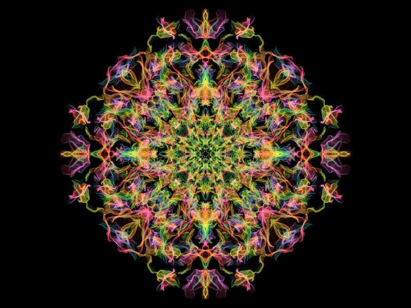 Gloeiende kleurrijke mandalabloem van de neon abstracte vlam, sier bloemen rond patroon op zwarte achtergrond Yogathema royalty-vrije illustratie