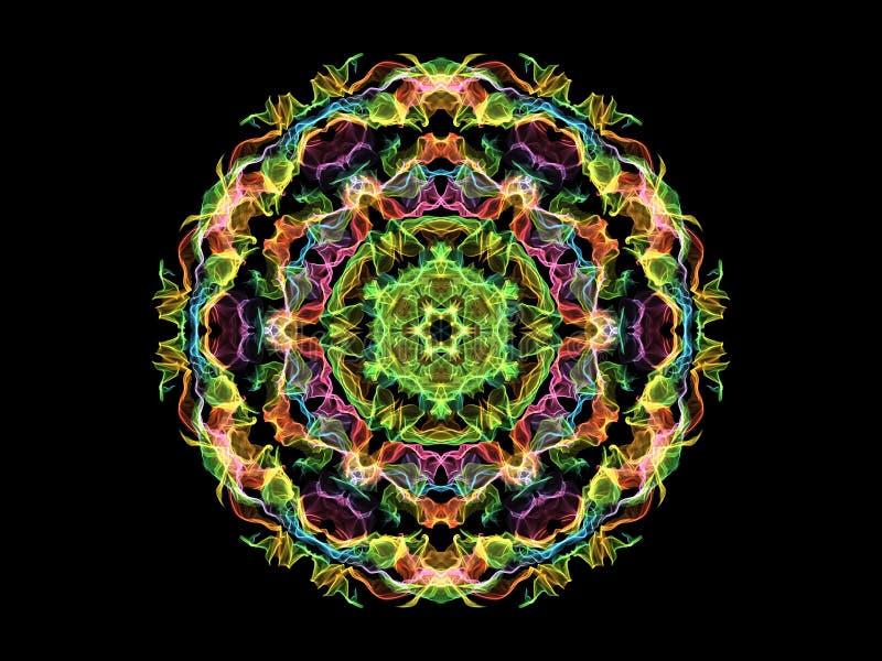 Gloeiende kleurrijke mandalabloem van de neon abstracte vlam, sier bloemen rond patroon op zwarte achtergrond Yogathema vector illustratie
