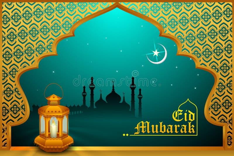 Gloeiende lamp op Eid Mubarak-achtergrond stock illustratie