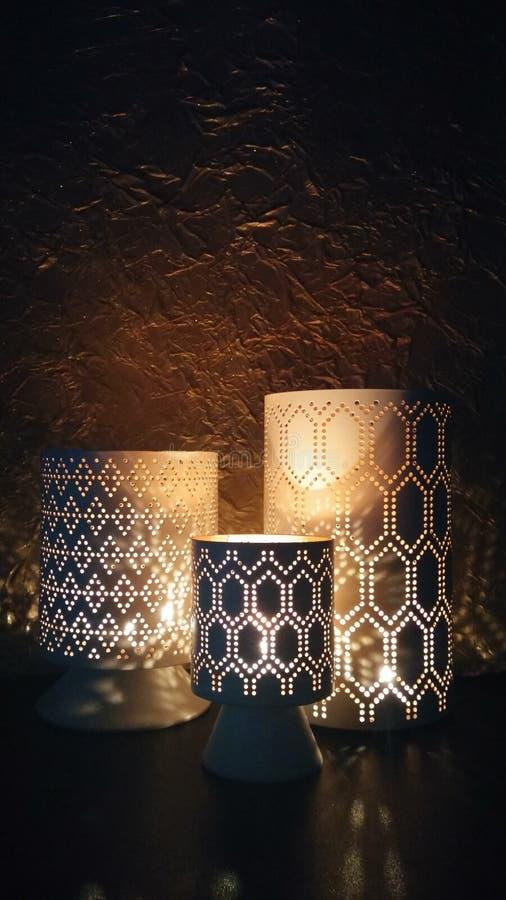 Gloeiende lantaarns, kaarslicht royalty-vrije stock afbeelding