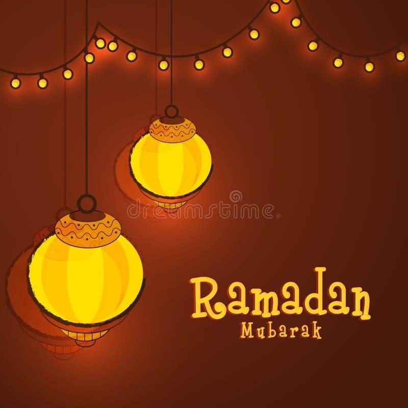 Gloeiende lantaarns voor Ramadan Mubarak-viering royalty-vrije illustratie