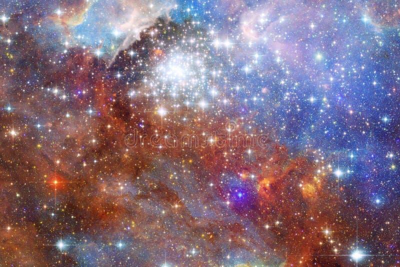 Gloeiende melkweg, ontzagwekkend science fictionbehang vector illustratie