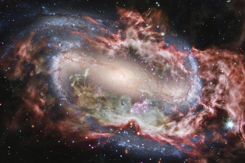 Gloeiende melkweg, ontzagwekkend science fictionbehang royalty-vrije illustratie