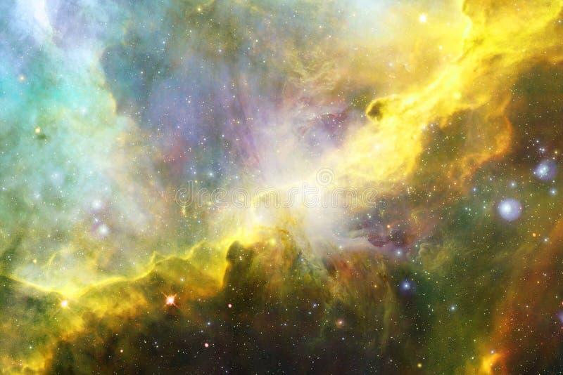 Gloeiende melkweg, ontzagwekkend science fictionbehang stock foto