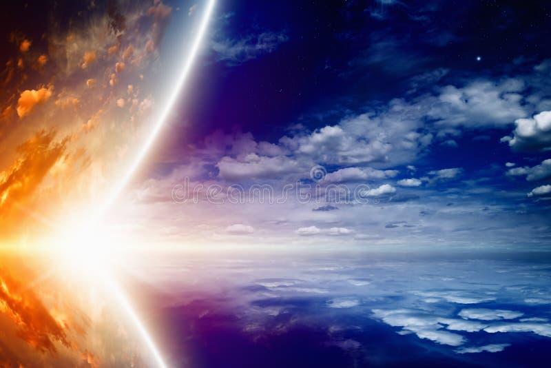 Gloeiende planeet vector illustratie