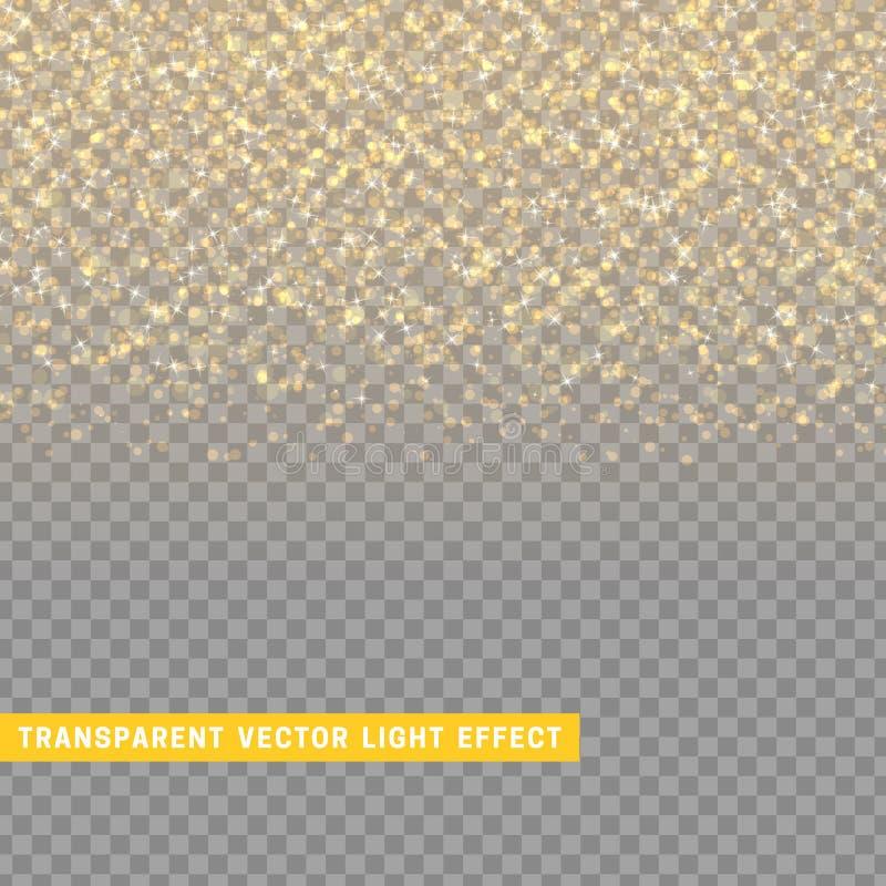 Gloeiende regen van de lichteffect de gouden textuur van confettien vector illustratie