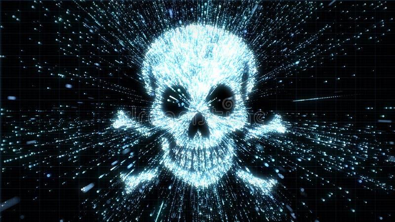 Gloeiende schedel en gekruiste knekelsillustratie die in deeltjesexplosie zijn met motieonduidelijk beeld stock foto's