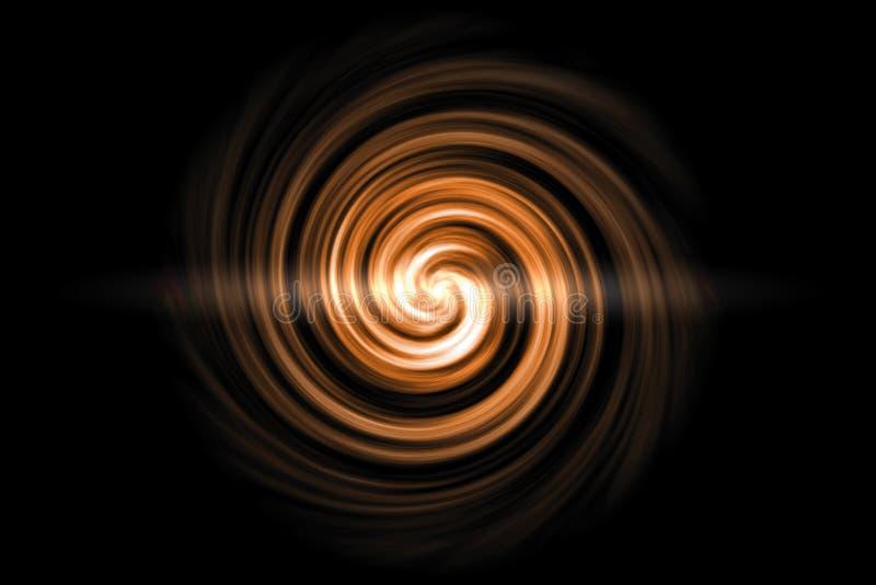 Gloeiende spiraalvormige tunnel met lichtoranje wolk op zwarte achtergrond royalty-vrije illustratie