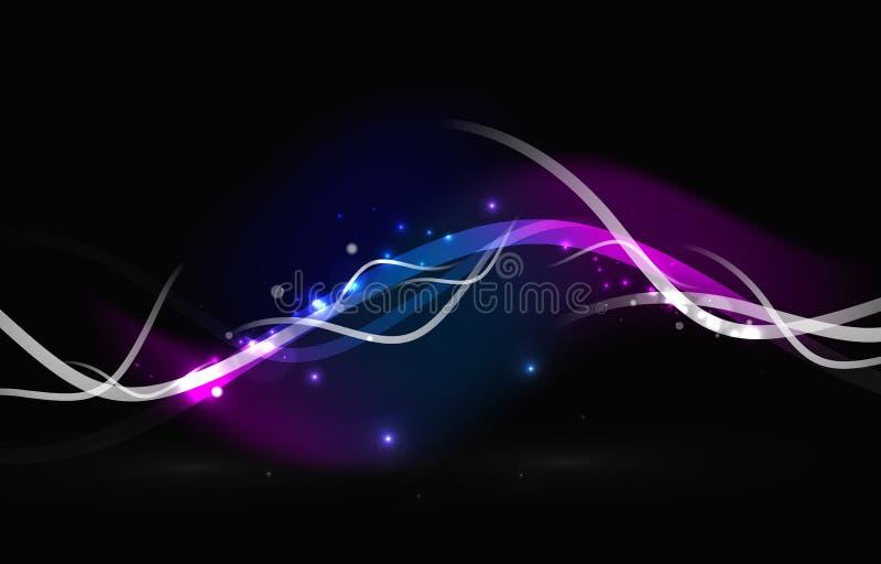 Gloeiende stromende golven en sterren in donkere ruimte vector illustratie