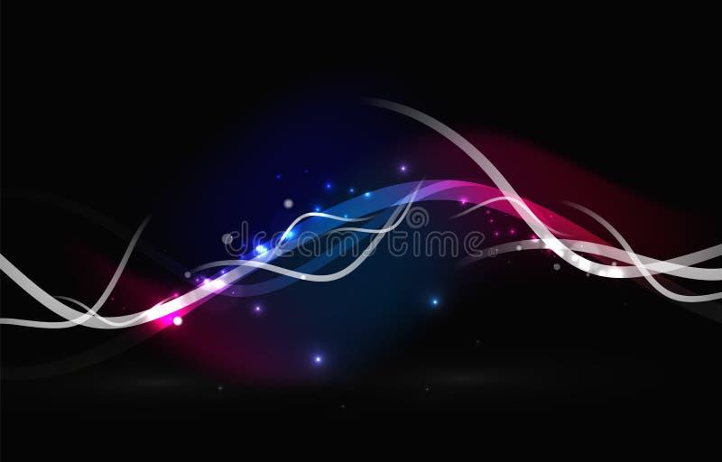 Gloeiende stromende golven en sterren in donkere ruimte royalty-vrije illustratie