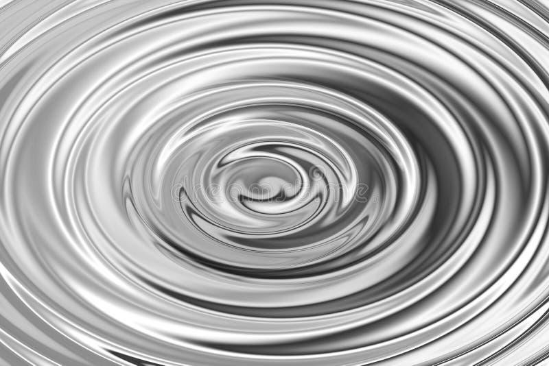 Gloeiende zilveren waterring met vloeibare rimpeling, abstracte textuur als achtergrond vector illustratie