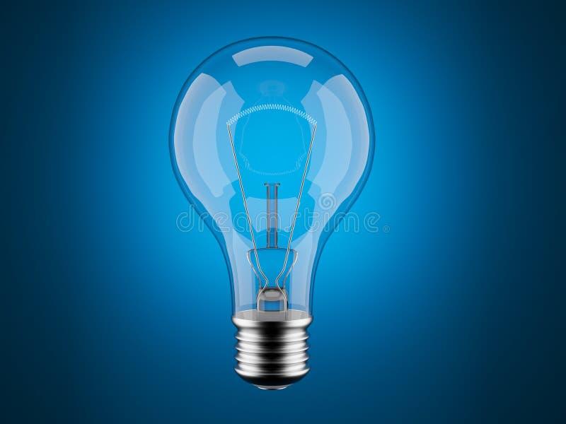 Gloeilamp 3d op blauw. Innovatie, verbeelding vector illustratie
