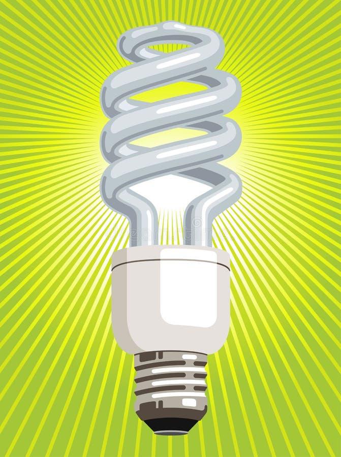 Gloeilamp CFL met groene achtergrond vector illustratie