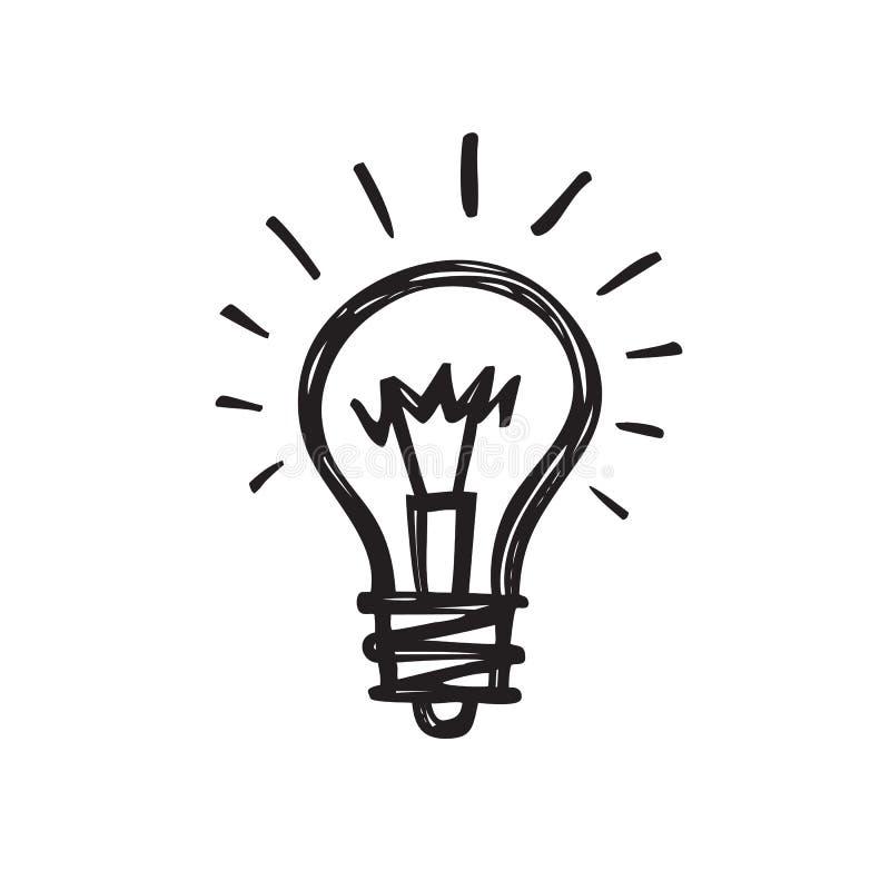 Gloeilamp - de creatieve schets trekt vectorillustratie Het elektrische teken van het lampembleem stock illustratie