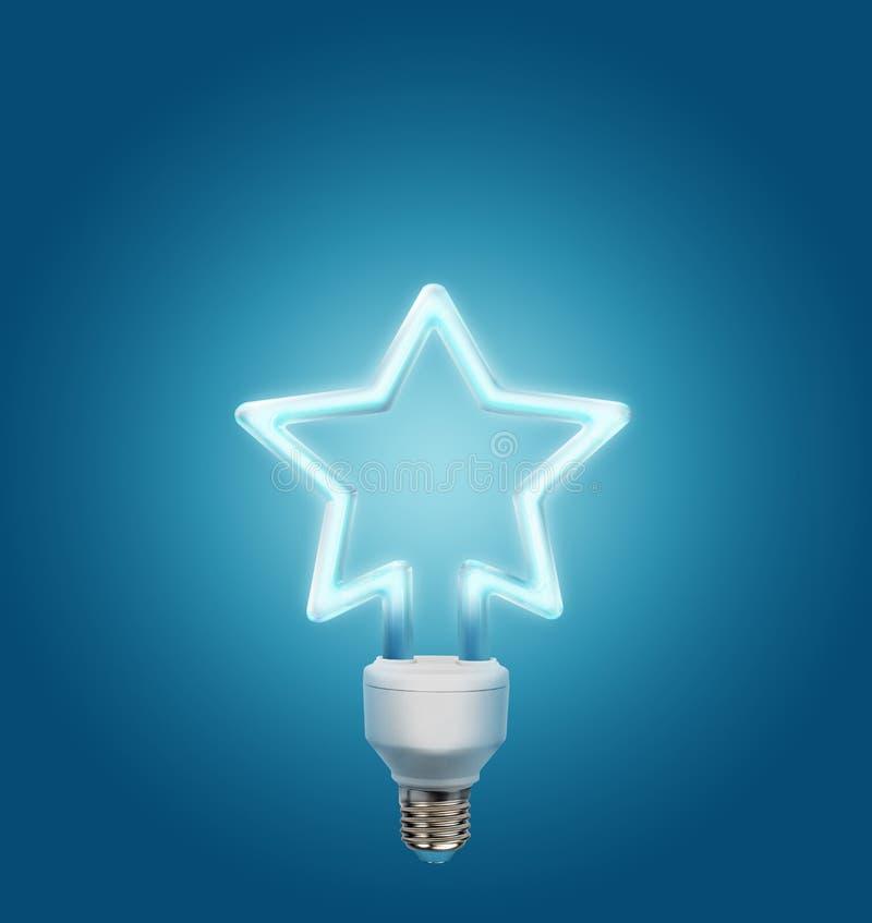 Gloeilamp die in de vorm van een ster op een blauwe achtergrond wordt gemaakt stock afbeelding