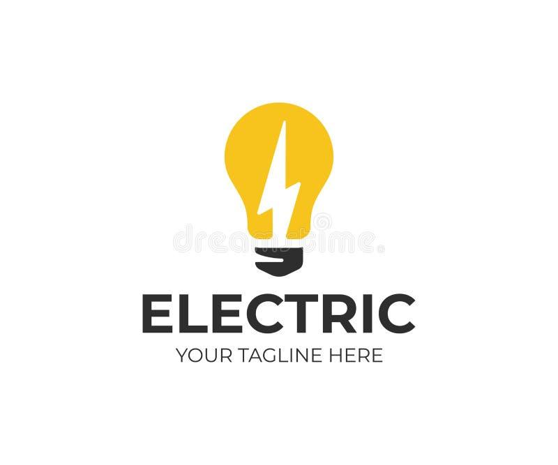 Gloeilamp en bliksem het malplaatje van het boutembleem Elektro vectorontwerp stock illustratie