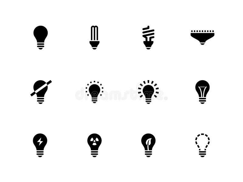 Gloeilamp en CFL-lamppictogrammen op witte achtergrond. stock illustratie