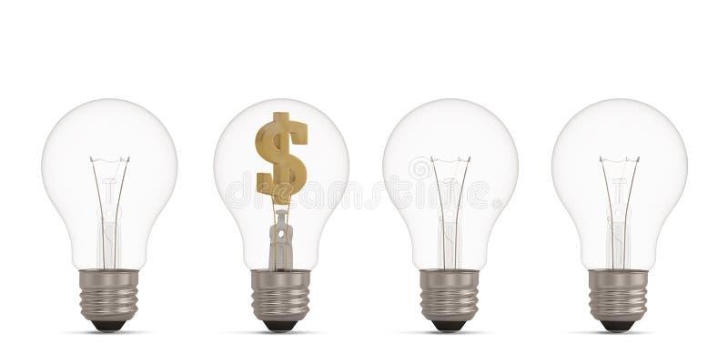 Gloeilamp en valutasymbool op witte 3D illustratie wordt geïsoleerd die als achtergrond royalty-vrije stock fotografie