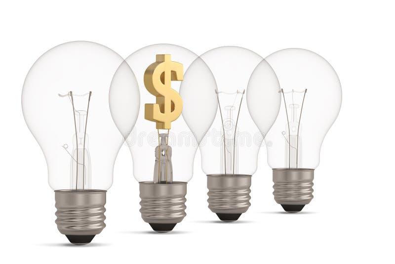 Gloeilamp en valutasymbool op witte 3D illustratie wordt geïsoleerd die als achtergrond stock afbeelding