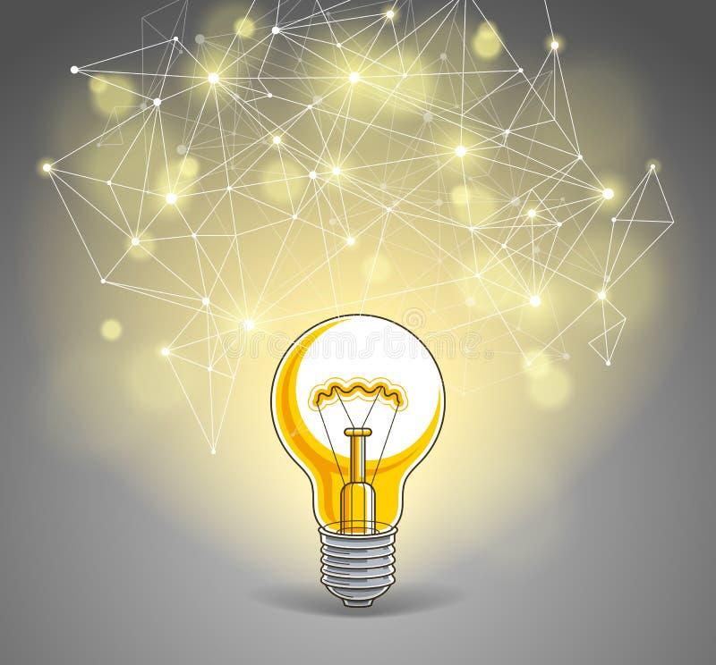 Gloeilamp en verbindingslijnen laag polyontwerp, innovatieve ideeconcept, moderne of toekomstige technologie stock illustratie