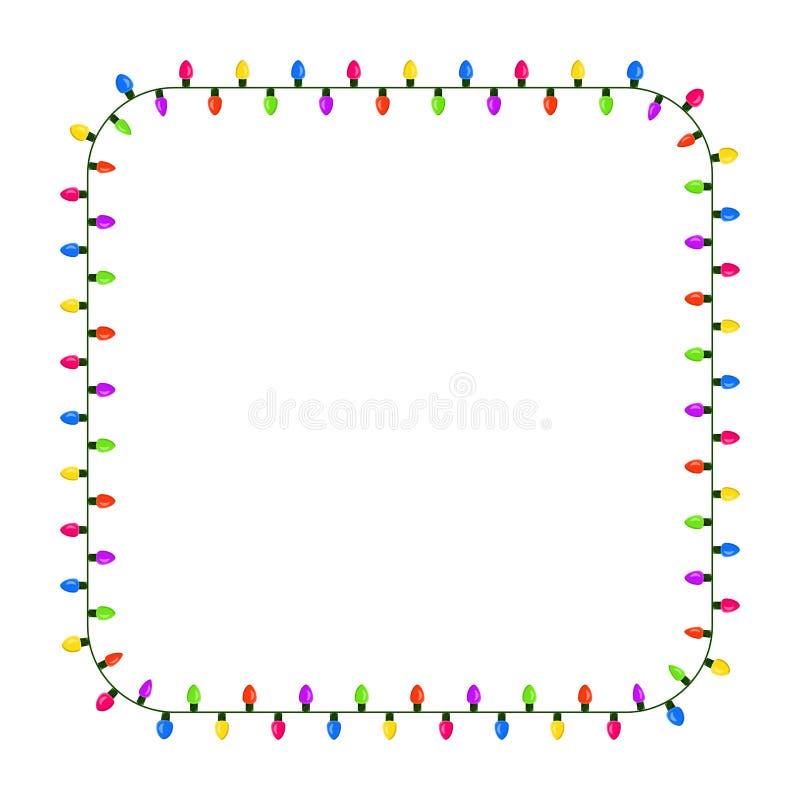 Gloeilamp, Kerstmisontwerp van de slinger vierkant die grens op w wordt geïsoleerd vector illustratie
