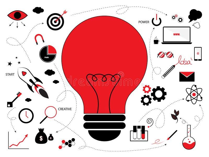 Gloeilamp met creatief ideeconcept stock foto's
