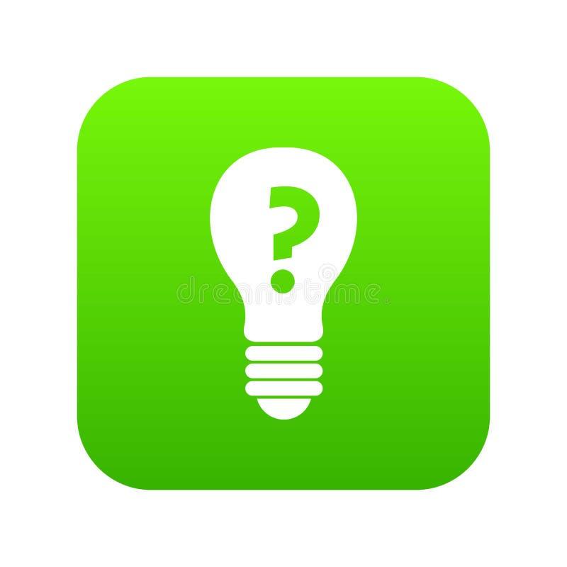 Gloeilamp met vraagteken binnen pictogram digitale groen stock illustratie