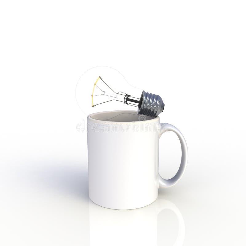 Gloeilamp met witte koffiekop die op witte achtergrond wordt ge?soleerd Spot op Malplaatje voor toepassingsontwerp De apparatuur  stock illustratie
