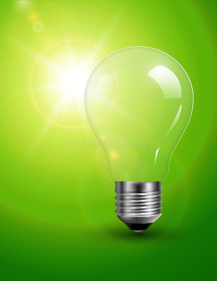 Gloeilamp op groen stock illustratie