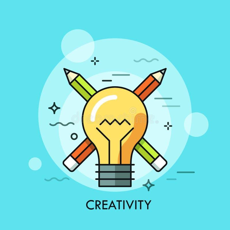 Gloeilamp tegen gekruiste potloden op achtergrond Concept creativiteit, het creatieve denken, originele ideegeneratie royalty-vrije illustratie