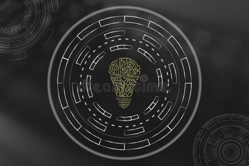 Gloeilamp van digitale die kringen wordt door samenvatting worden omringd gemaakt die techn vector illustratie