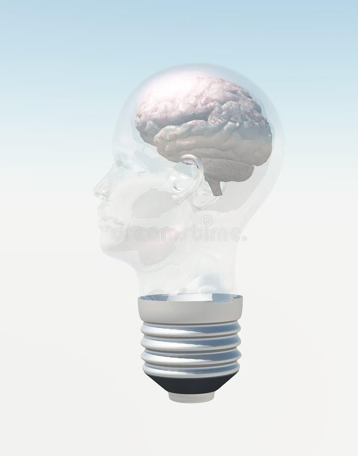 Gloeilamp in vorm van menselijk hoofd met hersenen stock illustratie