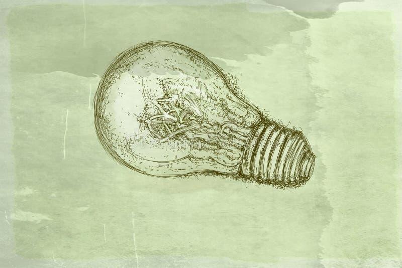 Gloeilampen met antieke basis stock illustratie