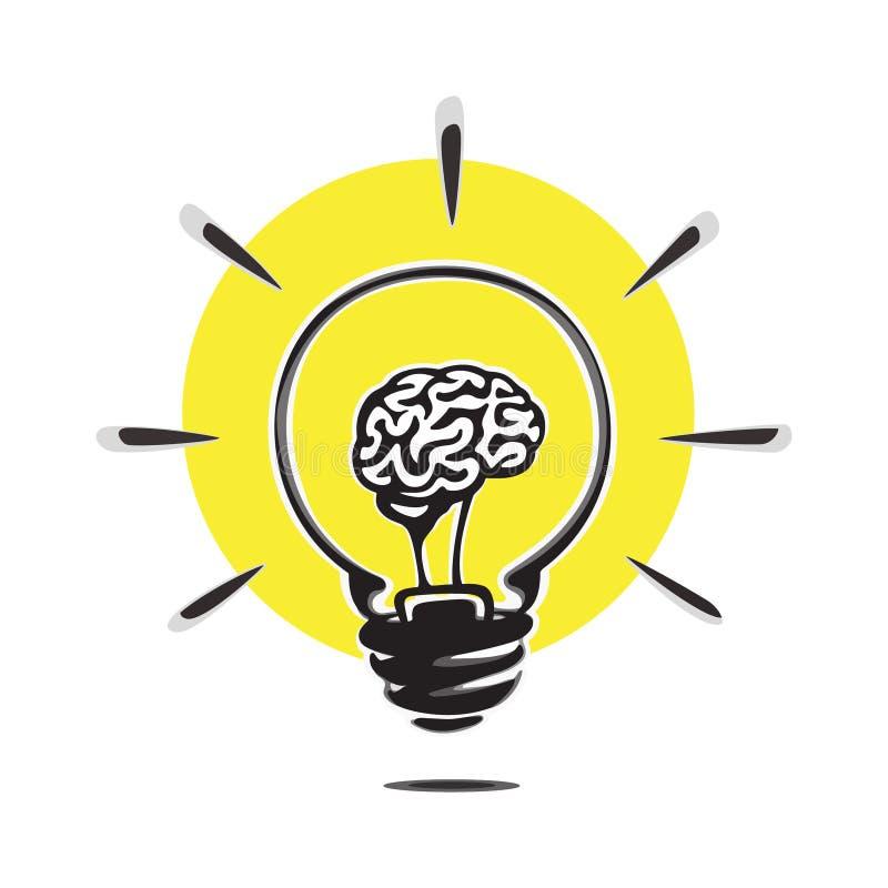 Gloeilampenconcept idee vectorsymbool Hersenen in de illustratie van het gloeilampenconcept Creatief idee vectorembleem stock illustratie