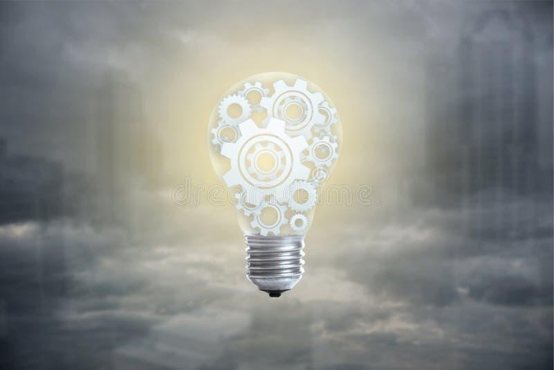 Gloeilampenconcept voor grote idee, innovatie en inspiratie stock afbeeldingen
