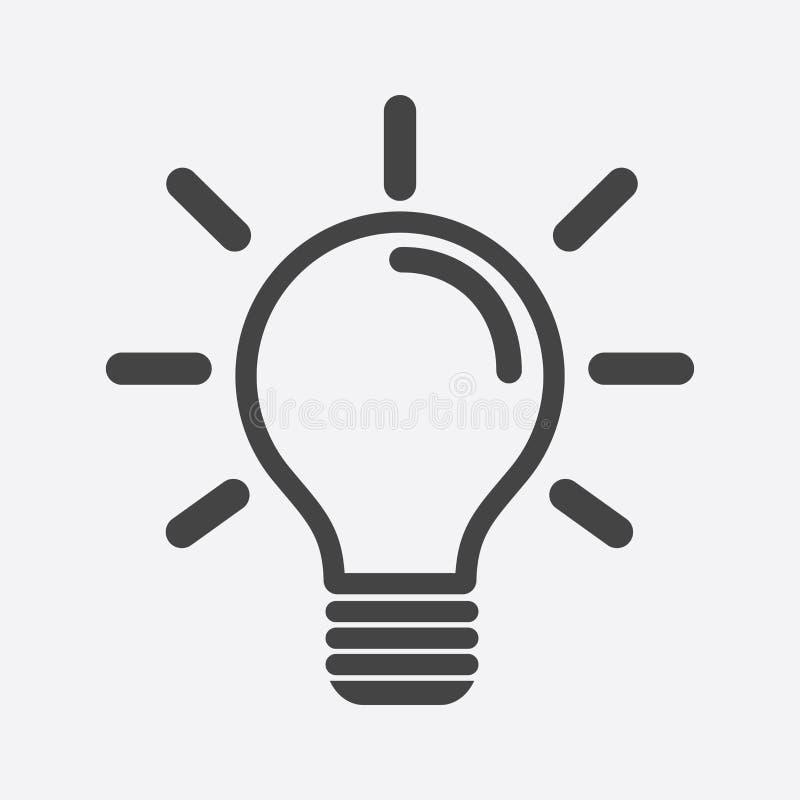 Gloeilampenpictogram op witte achtergrond Idee vlakke vectorillustrati royalty-vrije illustratie