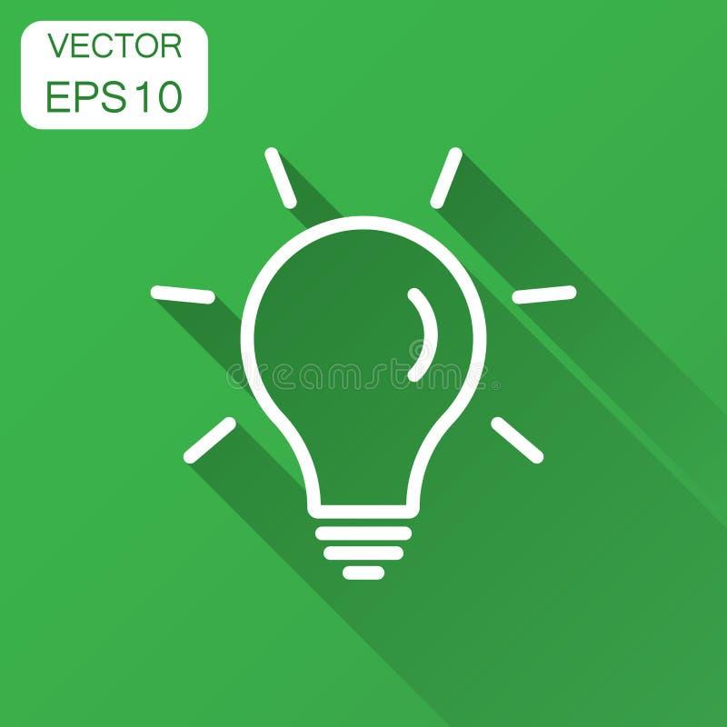 Gloeilampenpictogram in vlakke stijl Verstand van de Lightbulb het vectorillustratie vector illustratie