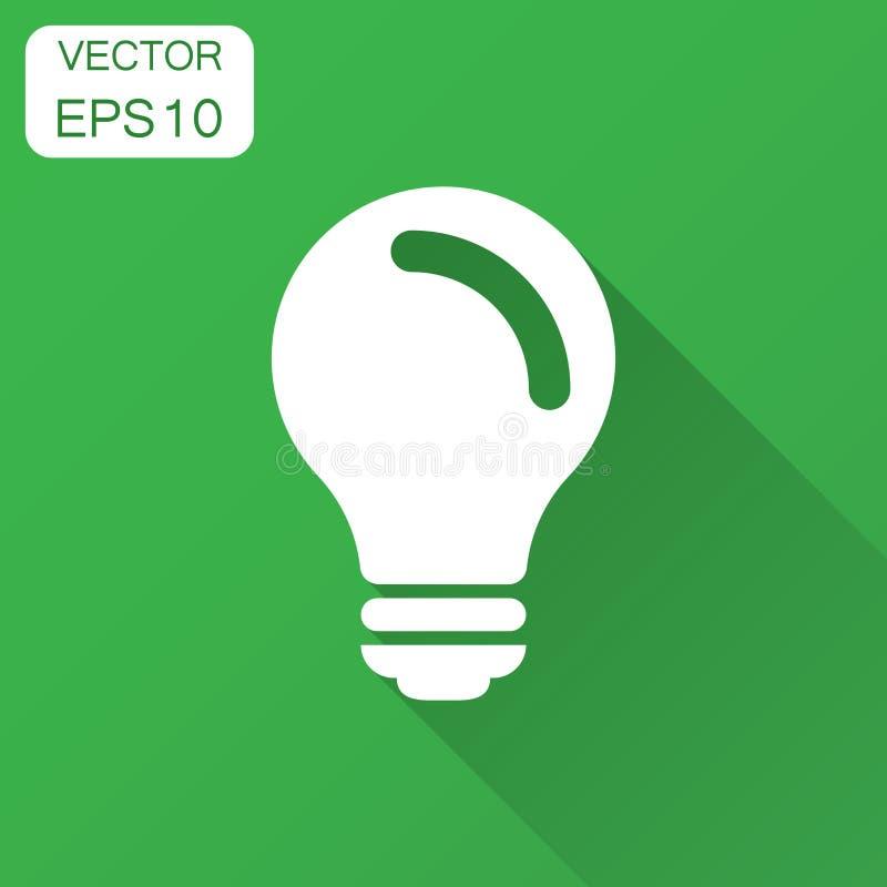 Gloeilampenpictogram in vlakke stijl Verstand van de Lightbulb het vectorillustratie stock illustratie