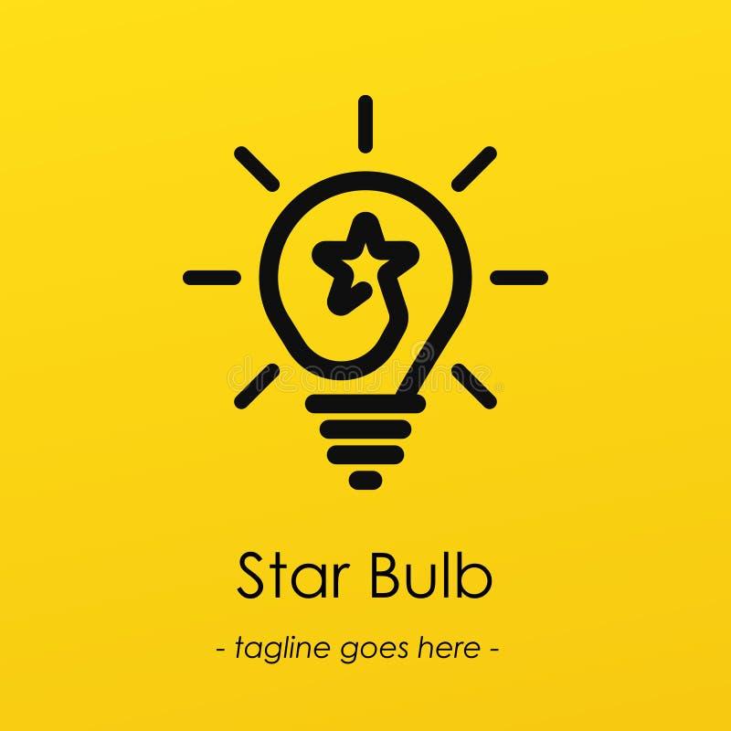 Gloeilampensymbool logotype met creatief idee, stersymbool in gloeilamp royalty-vrije illustratie