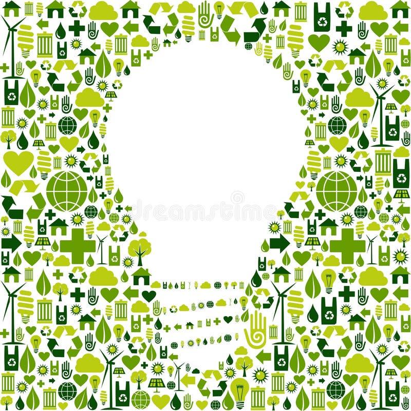 Gloeilampensymbool met groene pictogrammenachtergrond stock illustratie