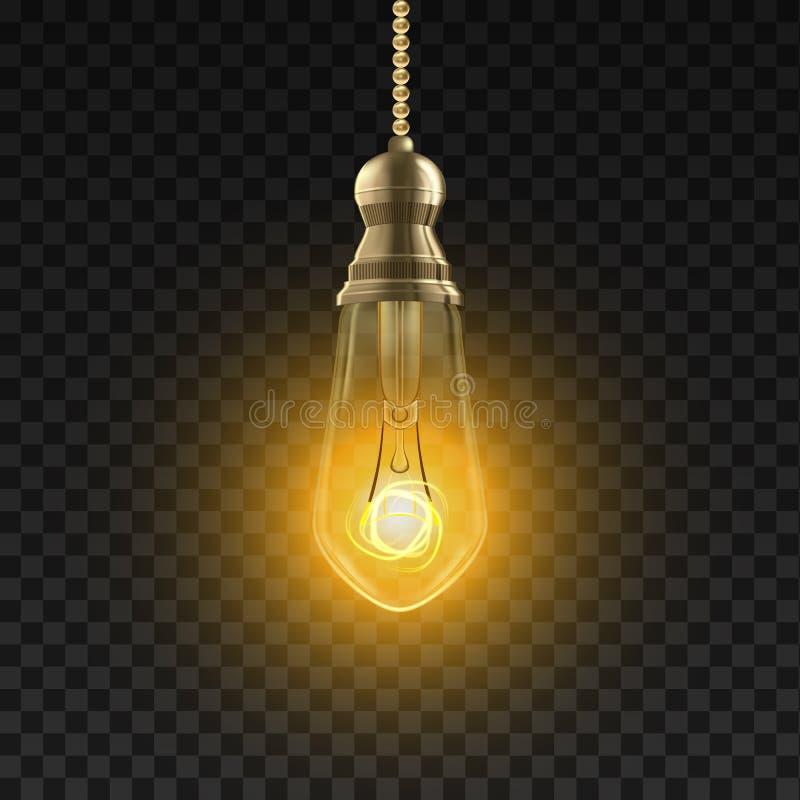 Gloeilampenvector Edicson Electric Light Bulb Energie Ray 3D Realistische Transparante Illustratie royalty-vrije illustratie
